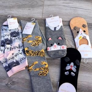 Accessories - Cat Themed Socks Assorted Knee High Ankle Ballet